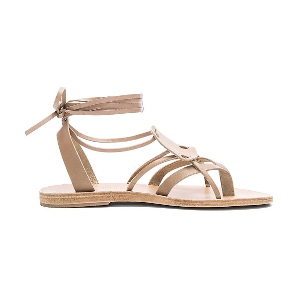 VALIA GABRIEL Chloe Sandal in taupe - Leather upper and sole. Wrap ankle with tie closure....