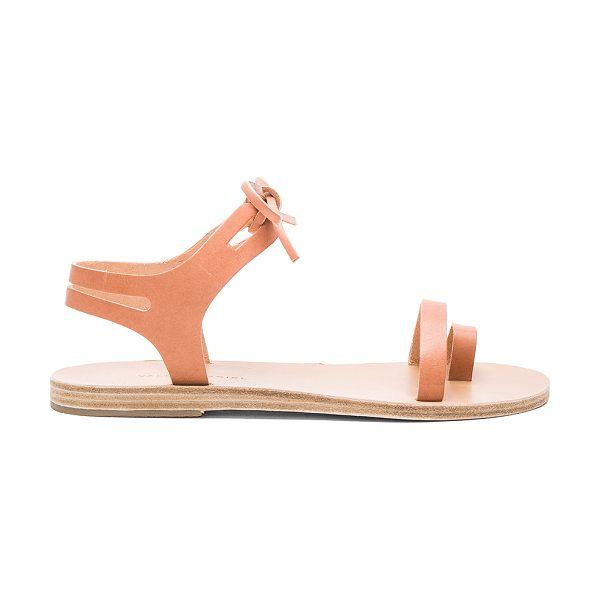 VALIA GABRIEL Leblon Sandal in tan - Leather upper and sole. Front tie closure. Cut-out...