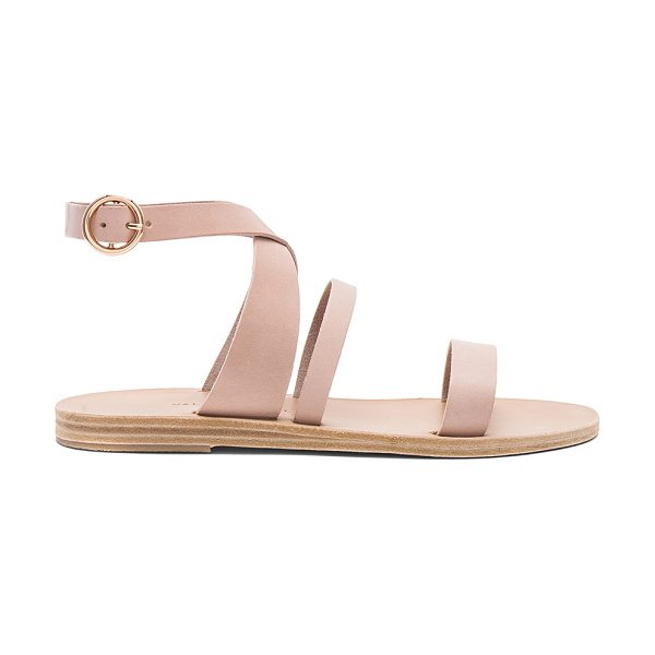 Valia Gabriel Nikki Sandal in beige - Leather upper and sole. Ankle strap with buckle closure....