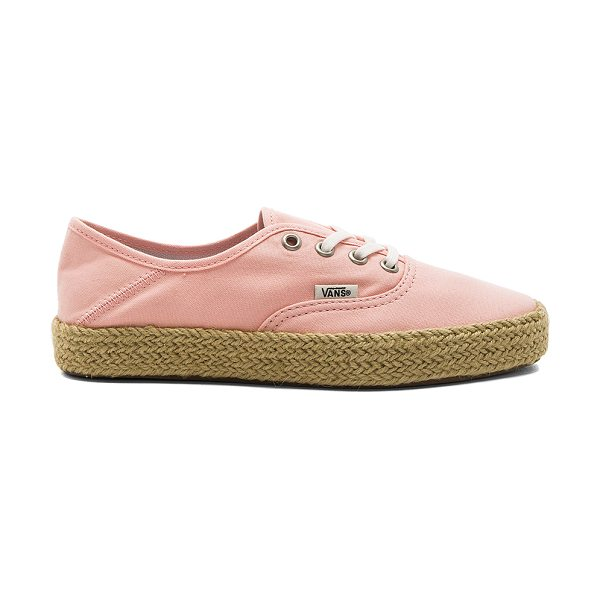 Vans Authentic Espadrille in peach - Canvas upper with rubber sole. Lace-up front. Jute trim....