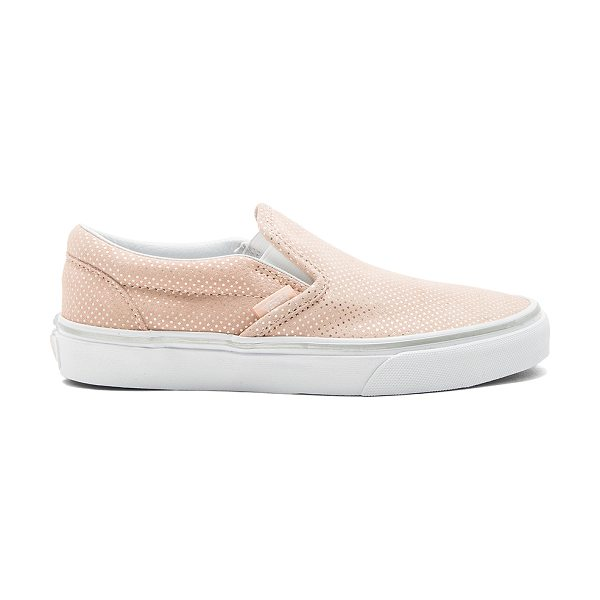 Vans Classic Slip-On Sneaker in pink - Suede upper with rubber sole. Slip-on styling. Metallic...