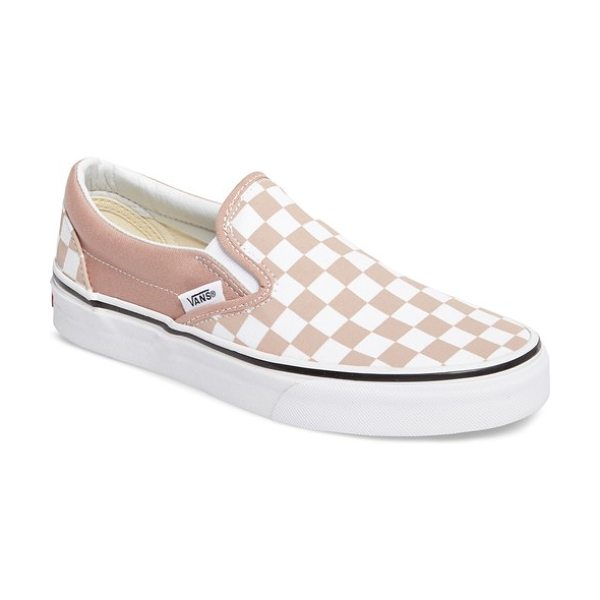 Vans classic slip-on sneaker in mahogany rose/ true white - A clean white cupsole boosts a street-smart slip-on...