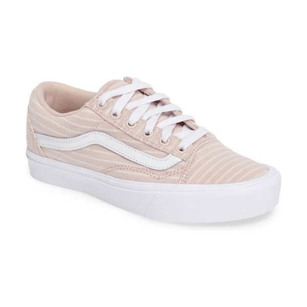 Vans old skool lite stripe sneaker in sepia rose/ true white - Striped jersey knit textures a classic skate-inspired...
