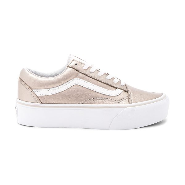 VANS Old Skool Platform Sneaker - Metallic leather upper with rubber sole. Lace-up front....