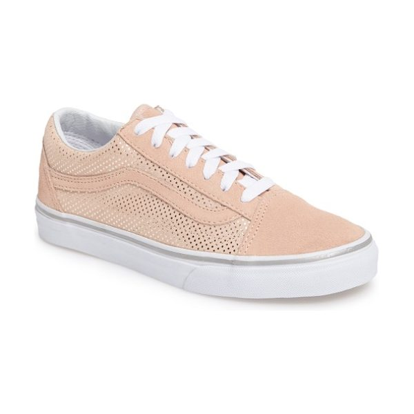 Vans old skool sneaker in metallic dots/ rose - Signature curved stripes and suede trim define a retro,...