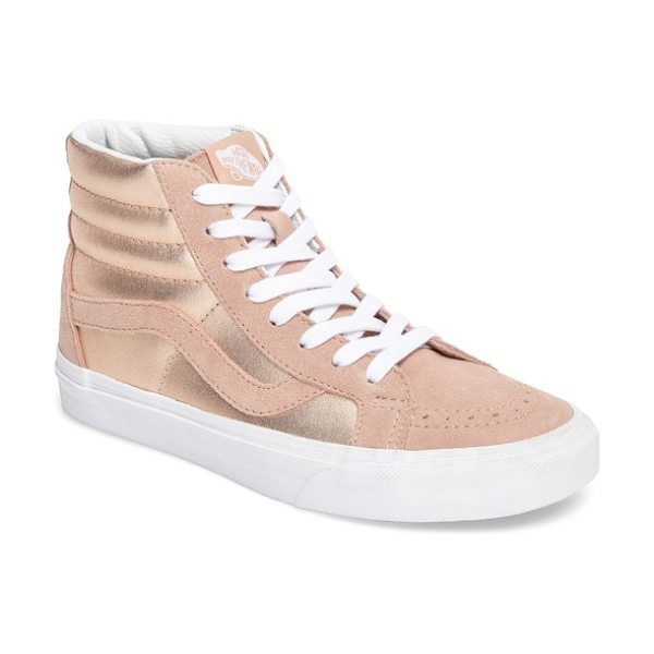 Vans 'sk8-hi reissue' sneaker in mahogany rose/ true white - Crinkled fabric composition and a signature contrast...