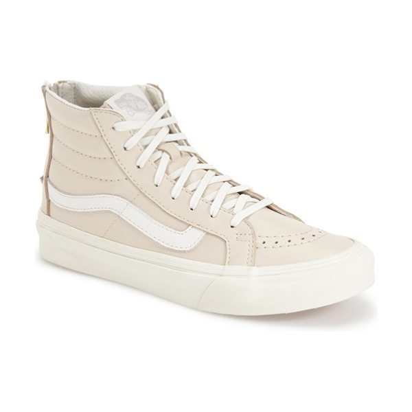 Vans sk8-hi slim high top sneaker in beige/ blanc de blanc leather - A goldtone zipper in back offers slip-on-and-off ease on...