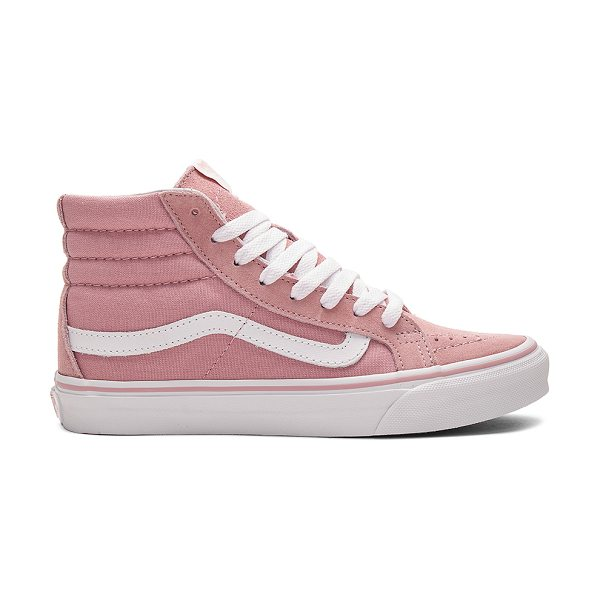 Vans SK8-HI Slim Sneaker in pink - Suede and canvas upper with rubber sole. Lace-up front....