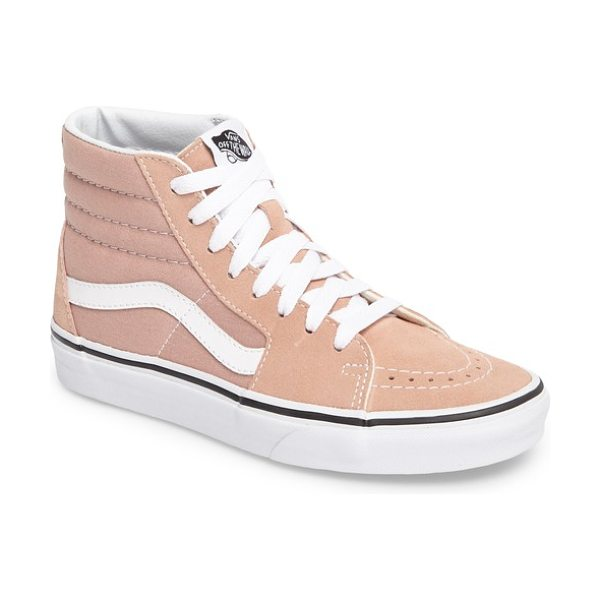 Vans 'sk8-hi' sneaker in mahogany rose/ true white - A blackout finish amps up the cool factor on an iconic...