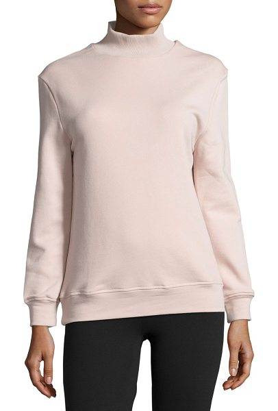 "Varley Rochester Cutout-Back Mock-Neck Sweatshirt in light pink - Varley ""Rochester"" sweatshirt in ultra-soft cotton blend..."