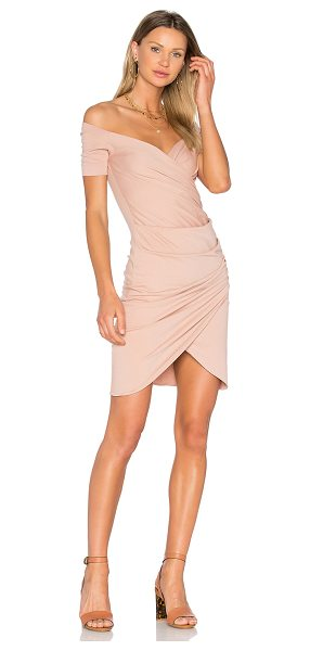 VATANIKA Draped Dress in blush - 100% cotton. Dry clean only. Unlined. Surplice front....