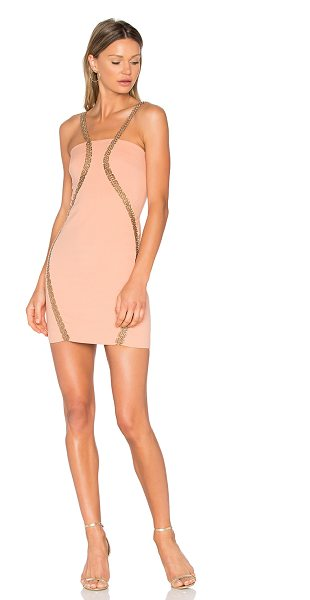 VATANIKA Embellished Stretch Mini Dress in pink - Self: 100% polyLining: 58% cotton 42% rayon. Dry clean...
