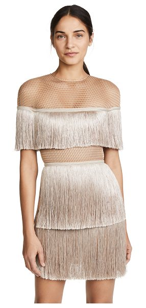 VATANIKA short sleeve dress in beige - Fabric: Netting Fringe detail Sheath dress silhouette...