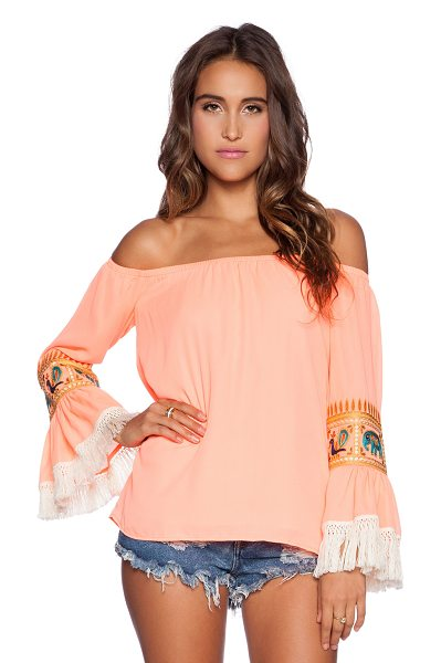 VAVA by Joy Han Chandra off shoulder top in coral - Poly blend. Elastic neckline. Embroidered detail. Fringe...