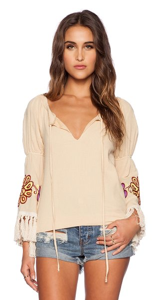 VAVA BY JOY HAN Meadow top in tan - 100% cotton. Dry clean only. Neck tie closure. Fringe...