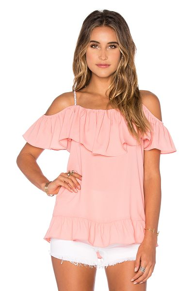 VAVA by Joy Han Nala Ruffle Top in coral - 100% poly. Dry clean only. Draped bodice overlay....