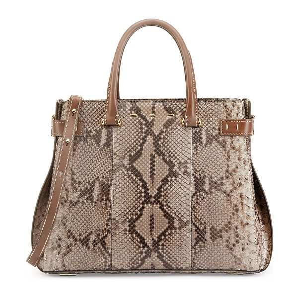 VBH Boulevard 32 python tote bag -  VBH python tote bag with leather trim and golden...