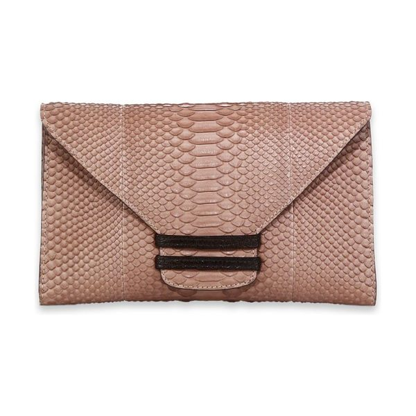 VBH Connor python & ostrich envelope clutch in beige - Exotic meets exotic in a sleek envelope that exudes an...