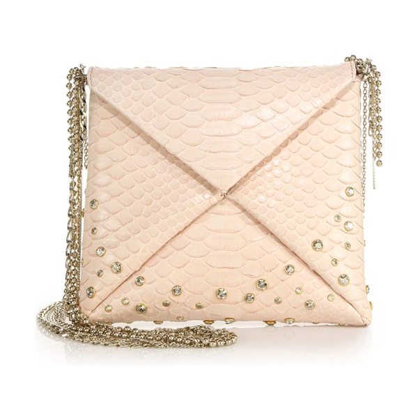 VBH Crystal-embellished python crossbody bag in shell