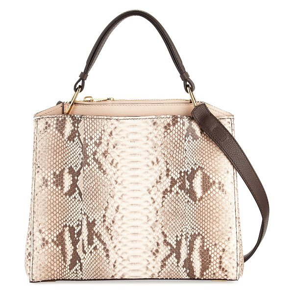 VBH Seven Python & Vitello Tote Bag - VBH matte python tote bag with leather trim. Shiny...