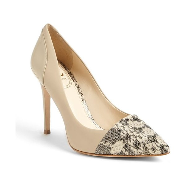 VC Signature peony pump in coconut/ black - Patent leather and snakeskin accents lend an element of...