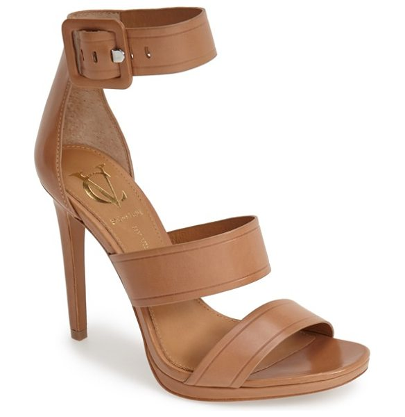 VC Signature sabrina leather ankle strap sandal in camel - Smooth leather composition and a monochrome buckle...