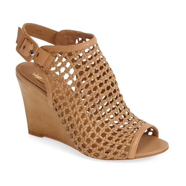 VC SIGNATURE cleone woven leather peep toe wedge sandal - Woven leather styles this sophisticated peep toe set on...