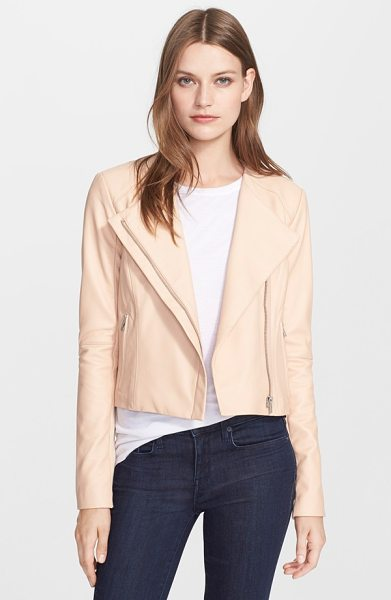 VEDA dali leather jacket in nude nude - A sleek, yet buttery-soft, leather jacket boasts a...
