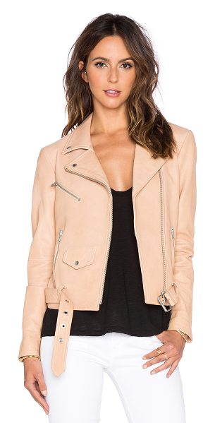 VEDA Jayne classic leather jacket in beige