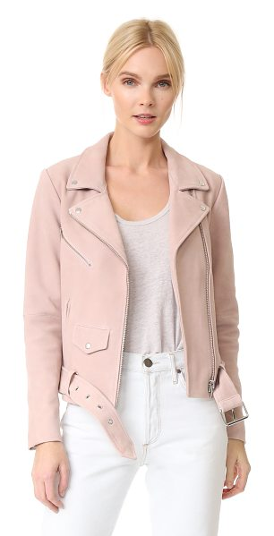 VEDA jayne suede jacket in pink cloud - A VEDA moto jacket feels fresh and feminine, composed of...