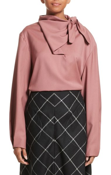 Vejas handkerchief tie wool gabardine top in rose - Inverted pleats add subtle structure to the sleeves of a...