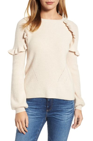 VELVET BY GRAHAM & SPENCER cashmere ruffle shoulder sweater in bisque - Fluttering ruffles circle the shoulders of this finely...