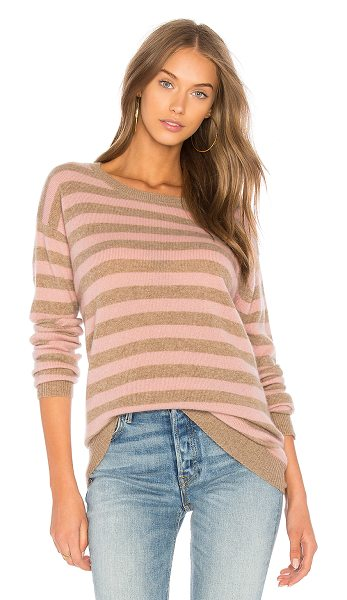 Velvet by Graham & Spencer Cath Striped Sweater in tan - Cashmere blend. Dry clean only. Knit fabric. Ribbed...