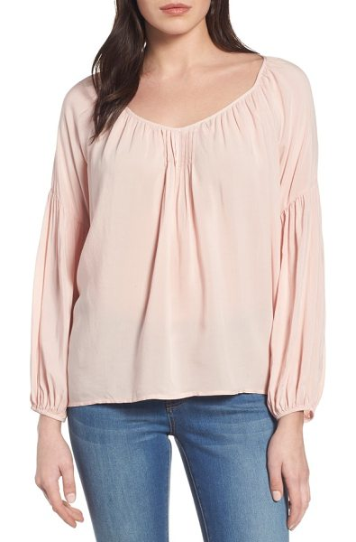 Velvet by Graham & Spencer challis peasant blouse in roses pink - Soft challis fabric brings easy drape to a pretty...