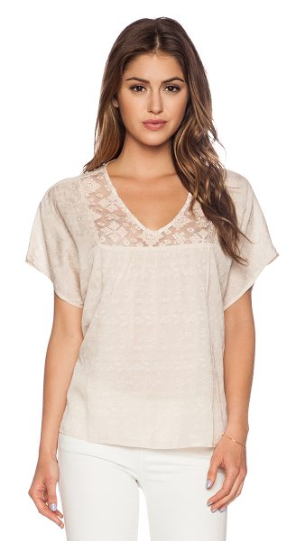 Velvet by Graham & Spencer Damask voile kenley top with lace in blush - 55% viscose 45% cotton. Hand wash cold. Sheer lace...