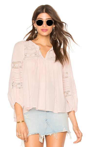 Velvet by Graham & Spencer Evie Top in pink - Cotton blend. Neckline tie detail. Sheer lace accents....