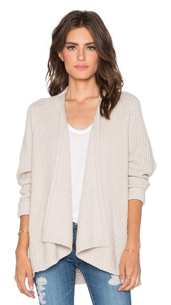 Velvet by Graham & Spencer Genia cashmere blend wrap in beige - Cashmere blend. Open draped front. Ribbed trim....