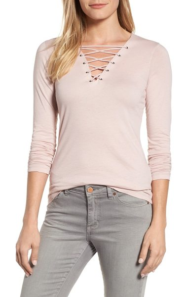 Velvet by Graham & Spencer lace-up top in petal - Crisscrossed ties lacing up the V-necklne add a fun...