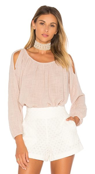 Velvet by Graham & Spencer Marcelle Cold Shoulder Top in pink - 100% cotton. Shoulder cut-outs. Back keyhole with button...
