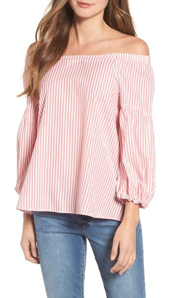 VELVET BY GRAHAM & SPENCER pinstripe off the shoulder cotton top in pink - As sweet as cotton candy, this pink pinstriped top...