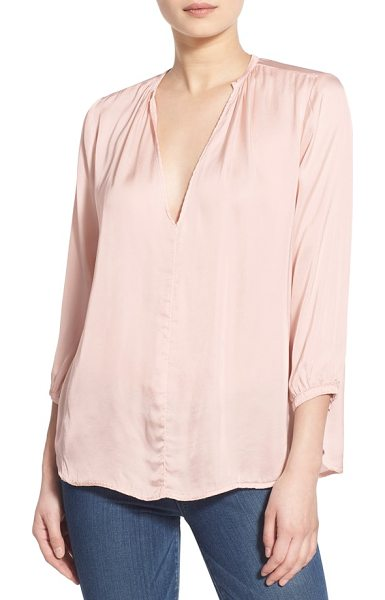 Velvet by Graham & Spencer sateen v-neck blouse in ballet pink - A deep V-neckline punctuates the flowy style of a woven...