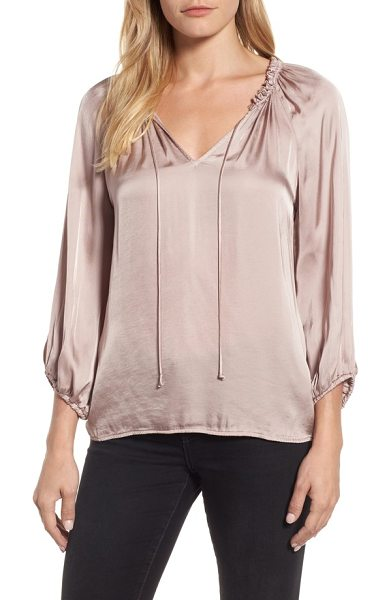 Velvet by Graham & Spencer tie neck satin blouse in blush - A gently billowed peasant blouse with slender ties...