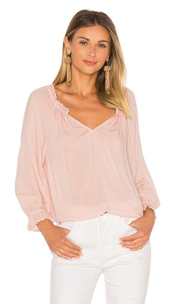 Velvet by Graham & Spencer Vincianna Blouse in pink - 100% viscose. Textured dot fabric. Elasticized neckline...