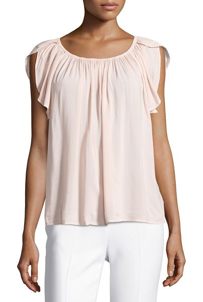 "Velvet Caris Scoop-Neck Cap-Sleeve Top in pink - Velvet ""Caris"" top in soft challis fabric. Scoop..."