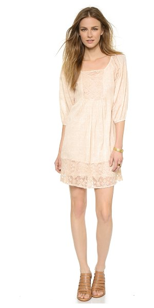 Velvet Jolecia tunic dress in blush - Embroidered mesh panels lend allure to this airy Velvet...