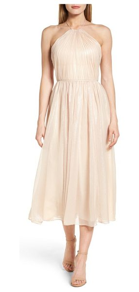 Vera Wang chiffon midi dress in pink - Bodice-sculpting gathers bring out the charming shimmer...