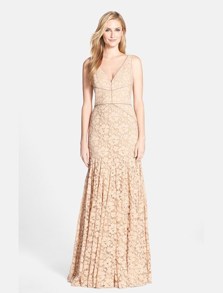 Vera Wang lace mermaid gown in pink sand - A figure-flaunting silhouette modernizes lace's...