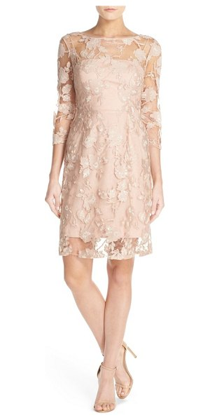 Vera Wang sequin embroidered lace a-line dress in nude - Sequined, embroidered lace veils a soft-pink slipdress...