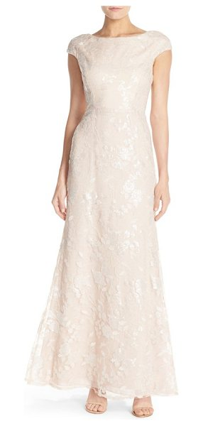Vera Wang sequin embroidered lace gown in natural pink