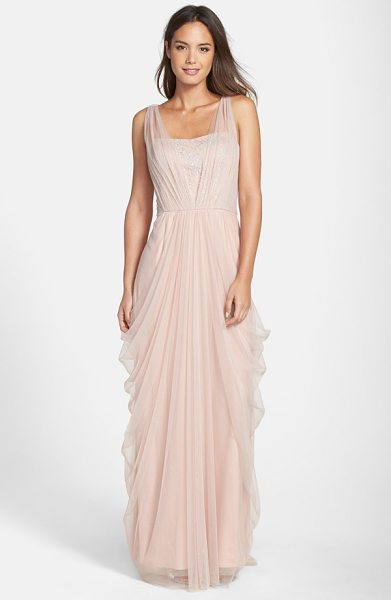 Vera Wang sleeveless chiffon gown in blush - Silvery floral detailing shimmers through the gracefully...